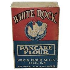 "Very Rare Circa: Early 1900's  Empty 2 lb. Box ""White Rock Pancake Flour"" from the Pekin Indiana Flour Mills."