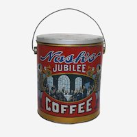 Circa: 1940's, Canadian 'Nash's Jubilee Coffee' Large 5 lb. Litho Advertising Tin Pail