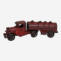 "Circa: 1930's Cast Iron A.C. Williams 7"" Gasoline Tanker Toy Truck"
