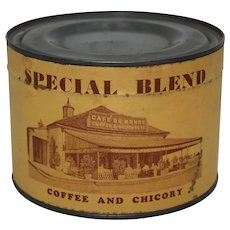 """Rare, 1930's, 40's Unopened New Orleans """"Café Du Monde Coffee Stand"""" Special Blend 1 lb Key wind Advertising Coffee Tin"""