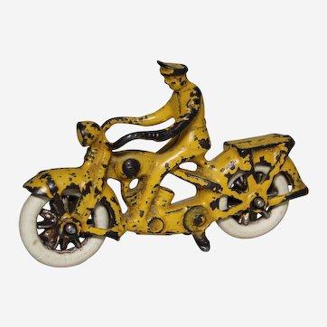 "Circa: 1930's Kilgore 4"" Cast Iron Toy Motorcycle"