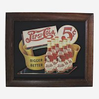 "Circa: 1940's,  Dye Cut Pressed Paper Board ""Pepsi Cola""   Framed Advertisement Sign"