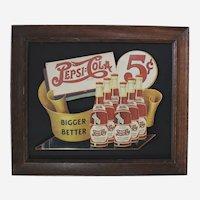 "Circa: 1940's,  Dye Cut Pressed Paper Board ""Pepsi Cola""   Framed Advertisement Sign"