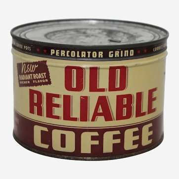 """Circa: Late 1930's, 1940's, Key Wind 1 lb. """"Old Reliable"""" Brand Litho Advertising Coffee Can."""