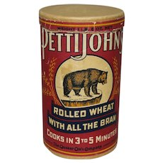 Circa: 1920-1940's Pettijohn's Rolled Wheat Cereal Advertising Cylinder