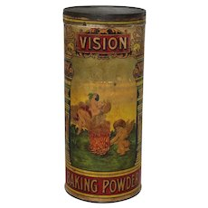 "Circa: Late 1800's ""Vision"" Baking Powder 7"" tall Advertising Container"