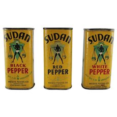 Set of 3 Vintage Sudan Brand Asst. Pepper Tin Spice Containers