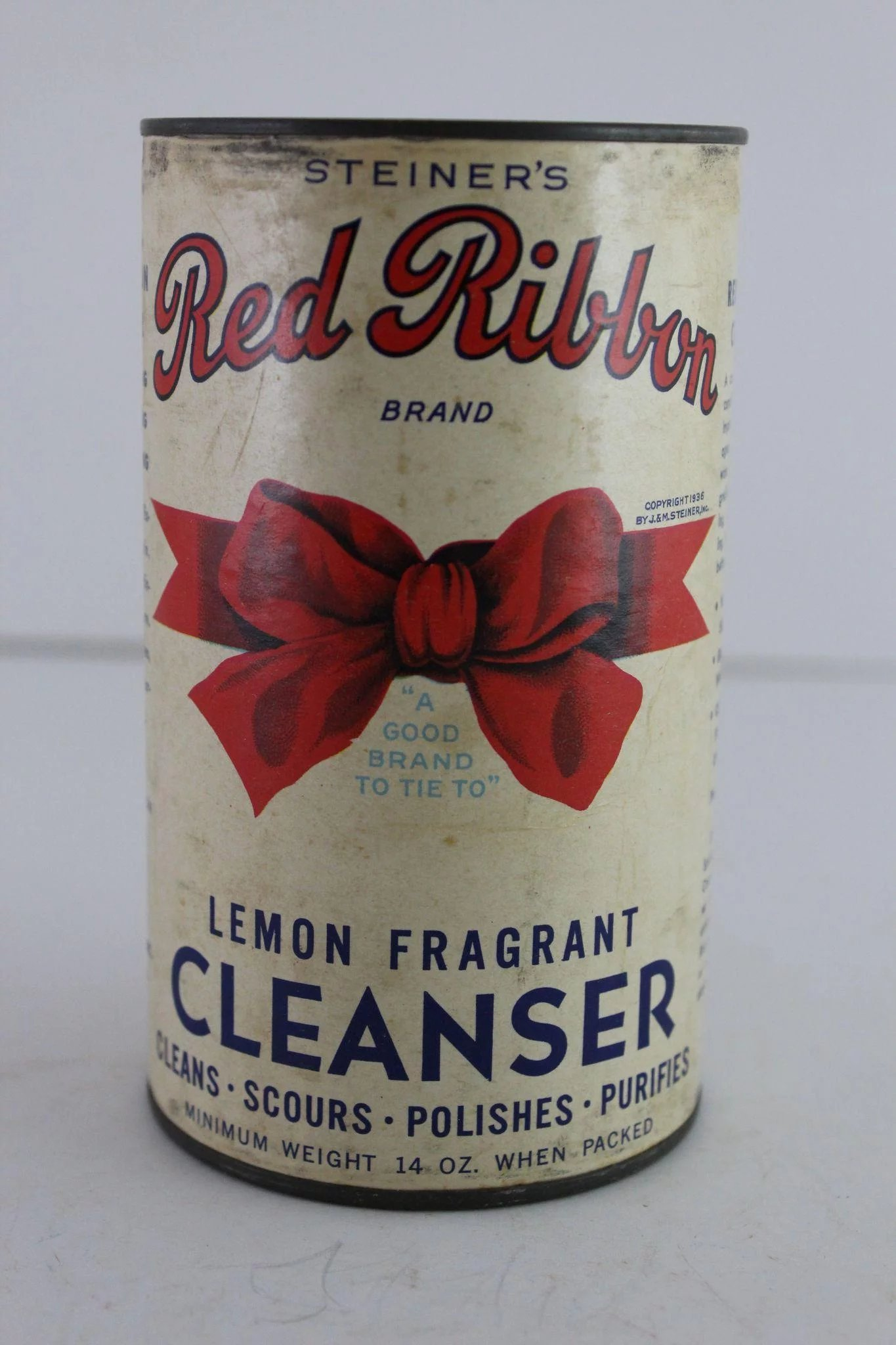 Vintage Red Ribbon Cleanser Container The Curious