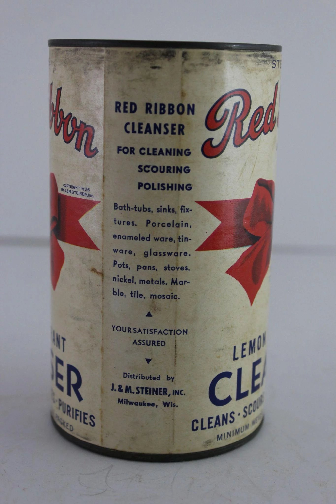 vintage red ribbon cleanser container   the curious american