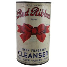 Vintage Red Ribbon Cleanser Container