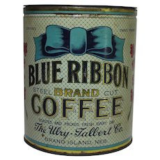 "Large 3 lb. ""Blue Ribbon Brand"" Coffee Tin"