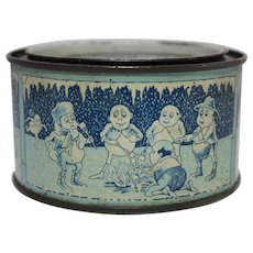 Rare Small 4 oz Snowdrop Marshmallow Tin featuring Palmer Cox Brownies