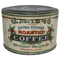 "Early 1900's J.M. ""1846"" Roasted Coffee Tin"