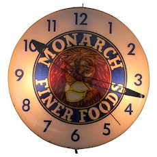 "Vintage"" Monarch Finer Foods"" Lighted Advertising Clock"