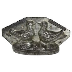 """Vintage """"Two Doves, Love Birds"""" Large Chocolate Mold"""
