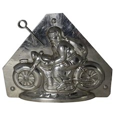 "Vintage ""Hornlein"" Santa on Motorcycle Chocolate Mold"