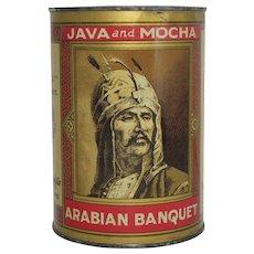 """Vintage """"Arabian Banquet"""" Java and Mocha Coffee Tin"""