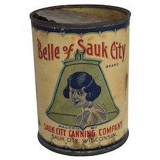 """Vintage """"Belle of Sauk City"""" Sweet Corn Tin"""