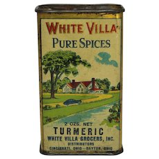 "Vintage ""White Villa"" Turmeric Spice Tin"