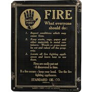 "1914 Standard Oil ""Safety First"" Embossed Lithograph Tin Sign"
