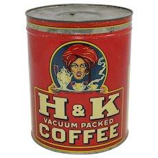 Vintage 3 lb. H.& K. Litho Coffee Tin