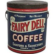 "Vintage ""Fairy Dell Coffee"" Tin Pail"