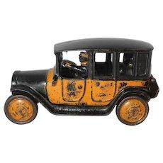 Vintage Cast Iron Large Freidag Yellow Taxi
