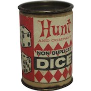 """Vintage """"Hunt and Company"""" Non Duplicate Dice & Container"""