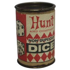 "Vintage ""Hunt and Company"" Non Duplicate Dice & Container"