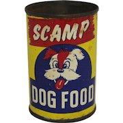 """Vintage """"Scamp"""" Dog Food Can"""
