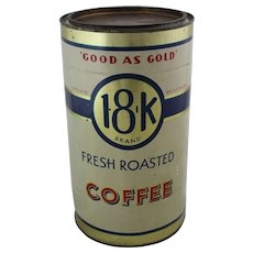 "Vintage ""Good As Gold"" 18-K Brand Coffee Tin"
