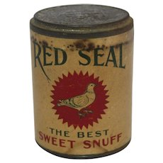 """Vintage """"Red Seal"""" Sweet Snuff Container"""