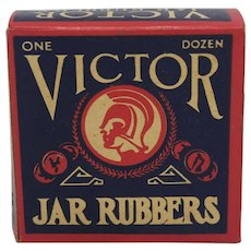 "Vintage Box of ""Victor"" Jar Rubbers"