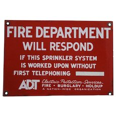 Porcelain A.D.T. Fire Department Sign