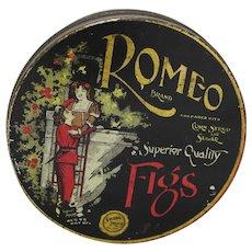 """Vintage """"Romeo Brand"""" Figs Tin"""