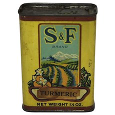 Vintage S & F Brand Turmeric Spice Tin