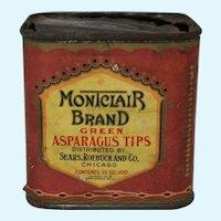 """Vintage Sears, Roebuck """"Montclair"""" Asparagus Tips Tin"""