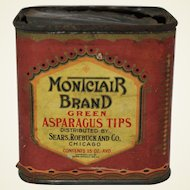 "Vintage Sears, Roebuck ""Montclair"" Asparagus Tips Tin"