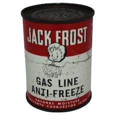"Vintage ""Jack Frost"" Gas Line Anti-Freeze Tin"