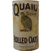"""Vintage """"Quail Brand"""" Rolled Oats Cardboard Container"""
