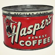 "Vintage ""Hasper's"" Key Wind Coffee Can"