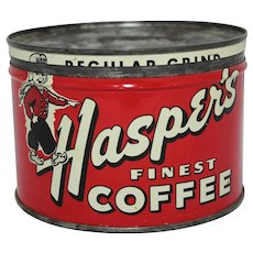 "Circa: 1940's, 50s  ""Hasper's"" Litho Key Wind Coffee Can"