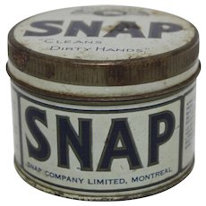 """1950's """"SNAP"""" Hand Cleaner Tin"""