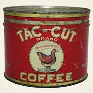 "Early 1930's ""Tac-Cut"" Key Wind Coffee Tin"