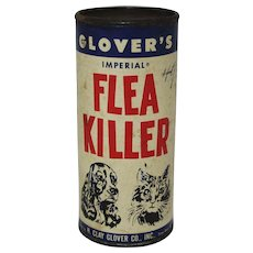 "1950's ""Clovers"" Flea Killer Cardboard/Tin Container"