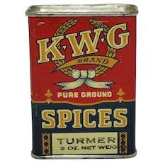 Vintage K.W.G. Turmeric Spice Tin