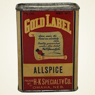 "Vintage ""Gold Label"" Allspice Spice Container"