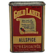 """Vintage """"Gold Label"""" Allspice Spice Container"""