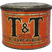 "Vintage Rare Chicago ""T&T"" Coffee Tin"