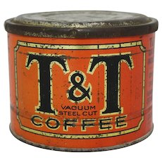 "Circa: 1930's Rare Chicago ""T&T"" Coffee Tin"